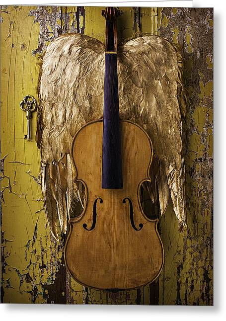 Viola Greeting Cards - Violin With Wings Greeting Card by Garry Gay