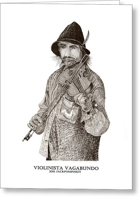 Street Performers Greeting Cards - Violinista Busker Vagabundo Greeting Card by Jack Pumphrey