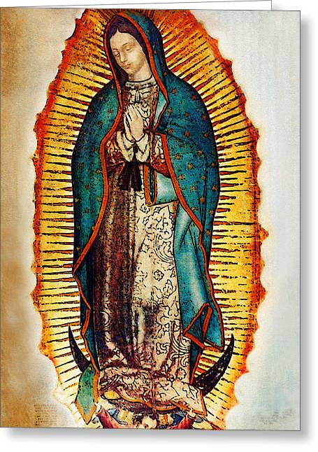 Virgin Mary Greeting Cards - Virgen de Guadalupe Greeting Card by Bibi Romer