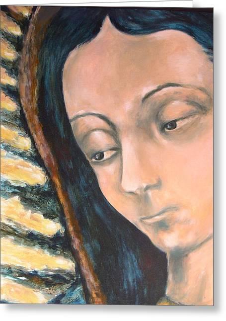 Virgen De Guadalupe Art Greeting Cards - Virgen De Guadalupe Greeting Card by DEVARAJ DanielFranco