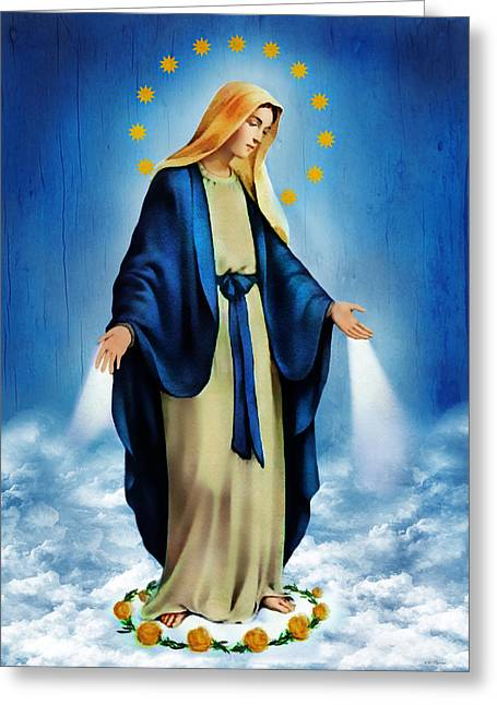 Virgin Greeting Cards - Virgen Milagrosa Greeting Card by Bibi Romer