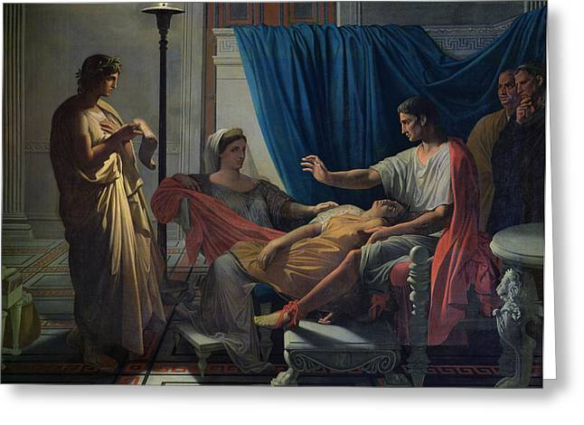 Faint Greeting Cards - Virgil Reading the Aeneid Greeting Card by Jean Auguste Dominique Ingres