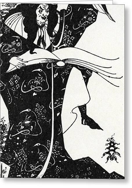Virgilius The Sorcerer Greeting Card by Aubrey Beardsley