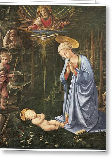 Baby Jesus Greeting Cards - Virgin Adoring the Child Greeting Card by Fra Filippo Lippi