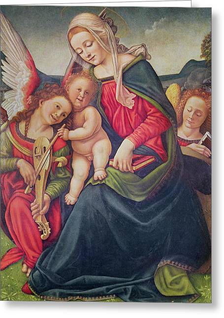 Playing Musical Instruments Greeting Cards - Virgin and Child and angel musicians  Greeting Card by Piero di Cosimo