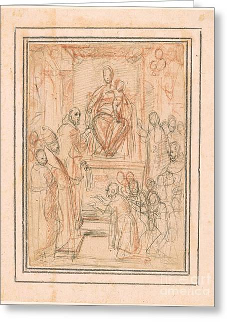 Saint Dominic Greeting Cards - Virgin and Child Enthroned Greeting Card by Celestial Images