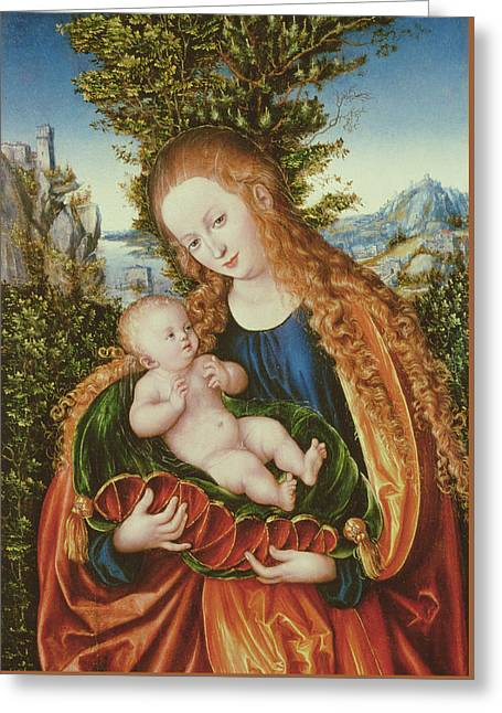 Child Jesus Greeting Cards - Virgin and Child Greeting Card by Lucas the elder Cranach