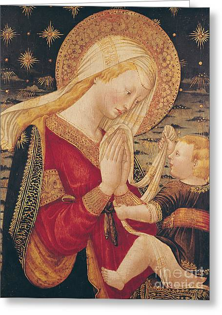 Worshipping Greeting Cards - Virgin and Child  Greeting Card by Neri di Bicci