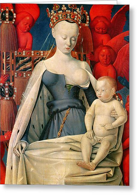 Angel Blues Greeting Cards - Virgin and Child Surrounded by Angels Greeting Card by Jean Fouquet