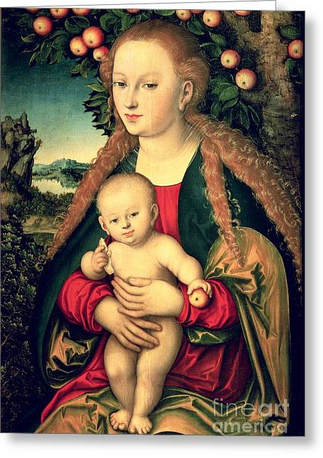 Worship God Paintings Greeting Cards - Virgin and Child under an Apple Tree Greeting Card by Lucas Cranach the Elder