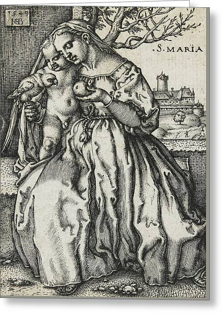 Virgin And Child With A Parrot Greeting Card by Hans Sebald Beham