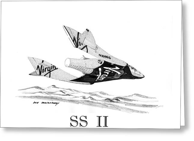 Spaceplane Greeting Cards - Virgin GALACTIC vehicle. Space Ship Two Greeting Card by Jack Pumphrey