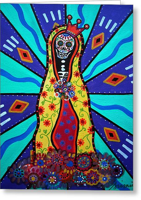 Virgin Guadalupe Day Of The Dead Greeting Card by Pristine Cartera Turkus