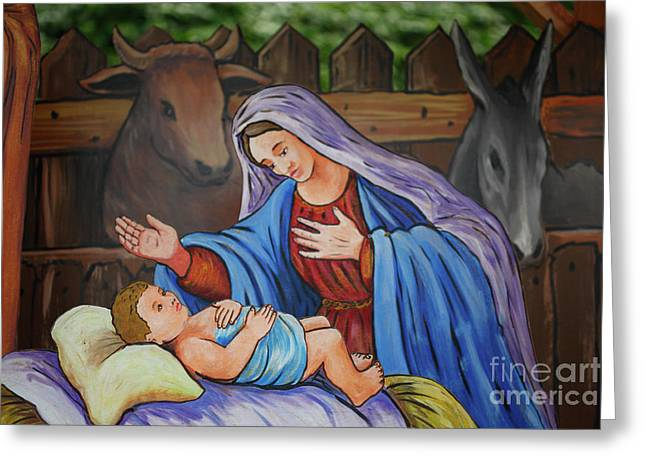 Religious Photographs Greeting Cards - Virgin Mary and baby Jesus Greeting Card by Gaspar Avila