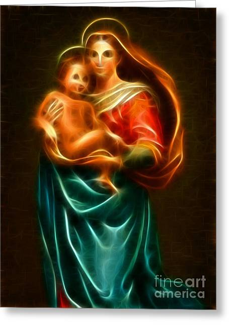 Religious Mixed Media Greeting Cards - Virgin Mary And Baby Jesus Greeting Card by Pamela Johnson