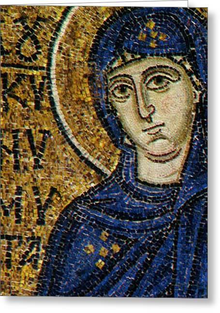 Virgin Mary Greeting Card by Byzantine School
