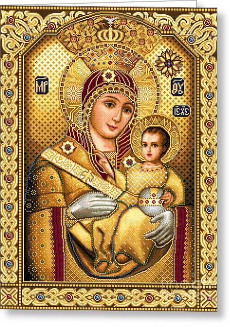 Mary Tapestries - Textiles Greeting Cards - Virgin Mary of Bethlehem Icon Greeting Card by Stoyanka Ivanova
