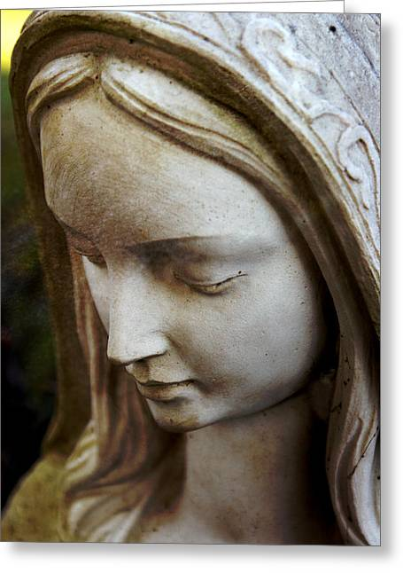 Headstones Greeting Cards - Virgin Mary Greeting Card by Off The Beaten Path Photography - Andrew Alexander