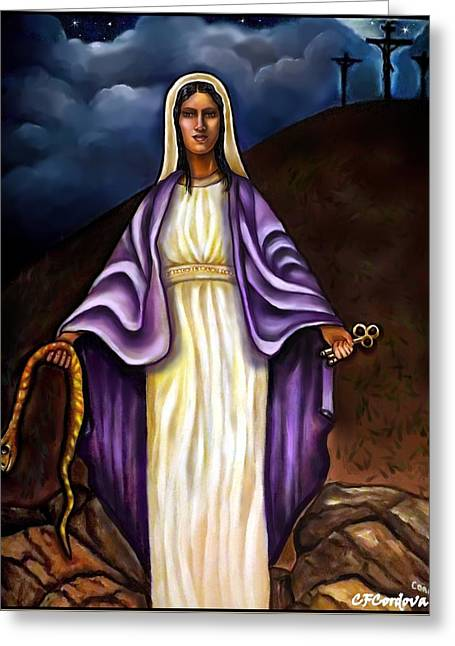 Spiritual Portrait Of Woman Greeting Cards - Virgin Mary- The Protector Greeting Card by Carmen Cordova