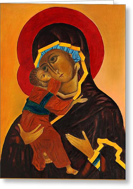Virgin Mary With Baby Jesus Greeting Card by Magdalena Walulik