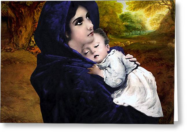 Child Jesus Greeting Cards - Virgin Mary with Jesus Greeting Card by A Samuel