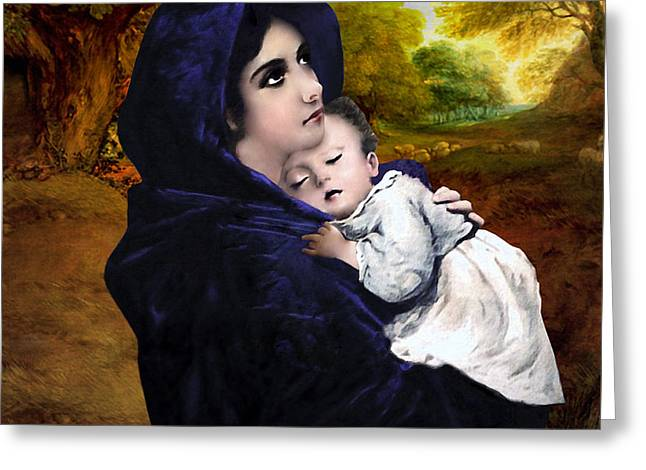 Christ Child Greeting Cards - Virgin Mary with Jesus Greeting Card by A Samuel