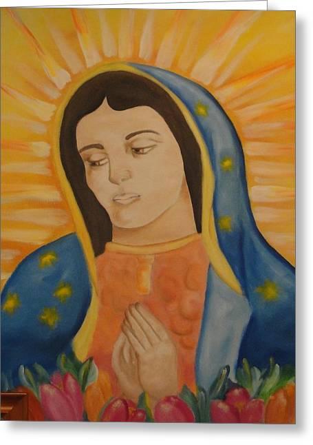 Virgin Mary Greeting Cards - Virgin Mary Greeting Card by Yenni Castillo