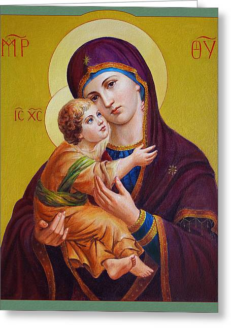 Jesus Christ Icon Greeting Cards - Virgin of Silver Spring - Theotokos Greeting Card by Svitozar Nenyuk
