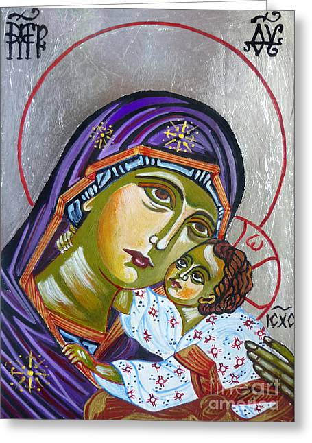Hand Drawn Greeting Cards - Virgin of Tenderness Eleusa Greeting Card by Ryszard Sleczka