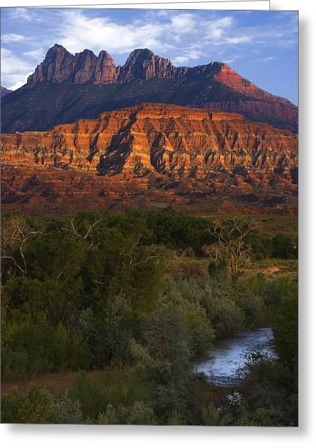 Best Sellers -  - Slickrock Greeting Cards - Virgin River near Zion National Park Greeting Card by Utah Images