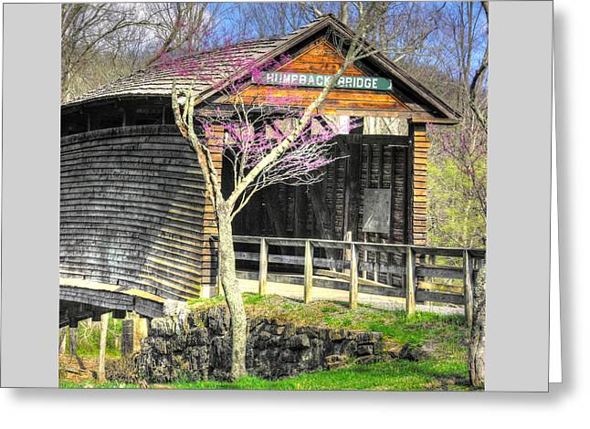 Virginia Country Roads - Humpback Covered Bridge Over Dunlap Creek No. 4b - Spring, Alleghany County Greeting Card by Michael Mazaika