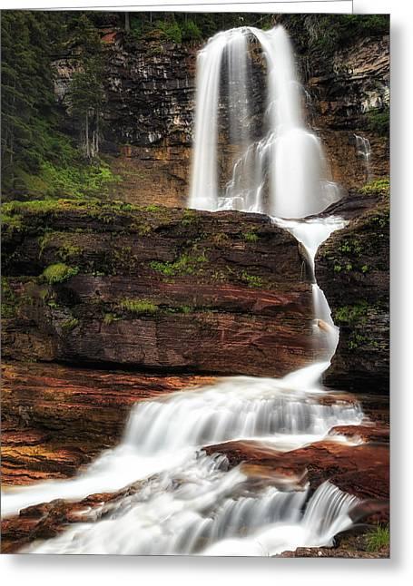 Usa Photographs Greeting Cards - Virginia Creek Falls Glacier National Park Greeting Card by John Vose