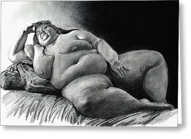 Figure Drawing Greeting Cards - Virginia lounging Greeting Card by Olivier Duhamel