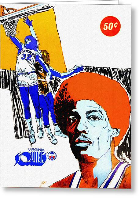 Dr J Greeting Cards - Virginia Squires Vintage Program Greeting Card by Big 88 Artworks