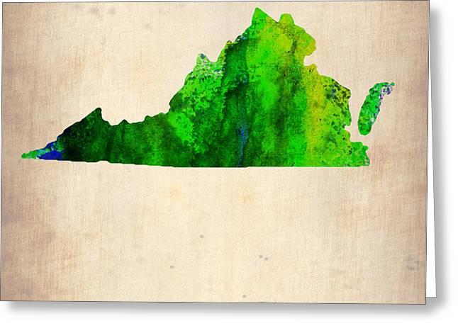 Virginia Watercolor Map Greeting Card by Naxart Studio
