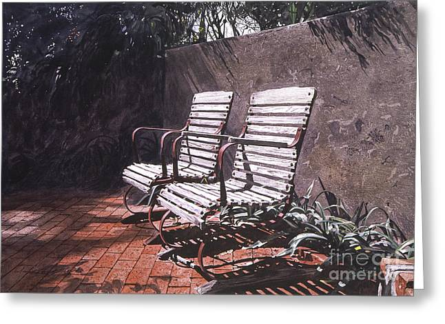Garden Chairs Greeting Cards - Virginias Repose Greeting Card by David Lloyd Glover