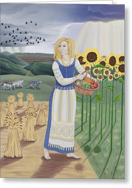 Lithuania Greeting Cards - Virgo / Zemenya Greeting Card by Karen MacKenzie