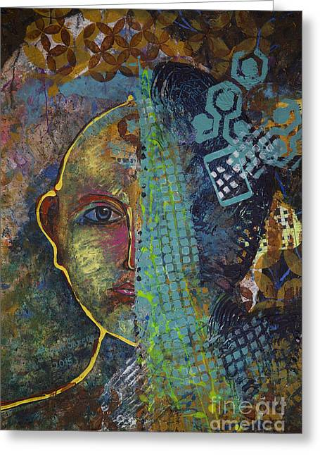 Abstract Digital Paintings Greeting Cards - Virtual portrait Greeting Card by Vipula Saxena