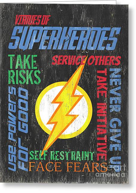 Virtues Of A Superhero 2 Greeting Card by Debbie DeWitt