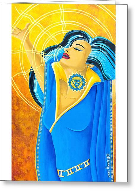 Vishuddha Greeting Cards - Vishuddha Throat Chakra Goddess Greeting Card by Divinity MonSun Chan