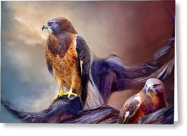 Vision Of The Hawk 2 Greeting Card by Carol Cavalaris