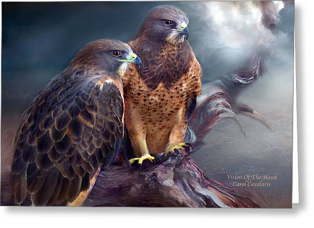 Bird Of Prey Greeting Card Greeting Cards - Vision Of The Hawk Greeting Card by Carol Cavalaris