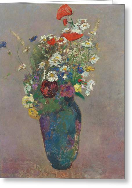 Vision Vase Of Flowers  Greeting Card by Odilon Redon