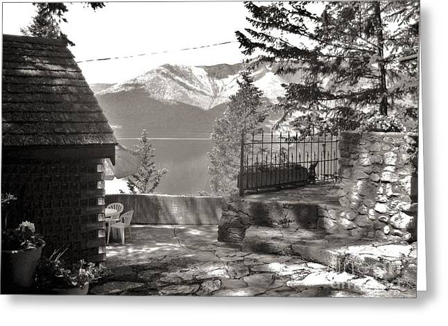 Mountain Cabin Greeting Cards - Visions from the Glass House In Boswell B.C. Greeting Card by Reb Frost