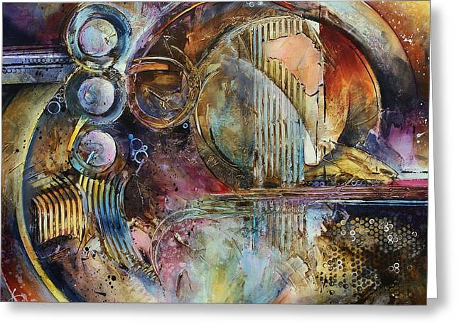 Geometric Shape Paintings Greeting Cards - Visions of Eight Greeting Card by Michael Lang