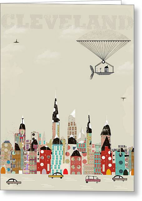 Whimsical. Greeting Cards - Visit Cleveland Ohio Greeting Card by Bri Buckley
