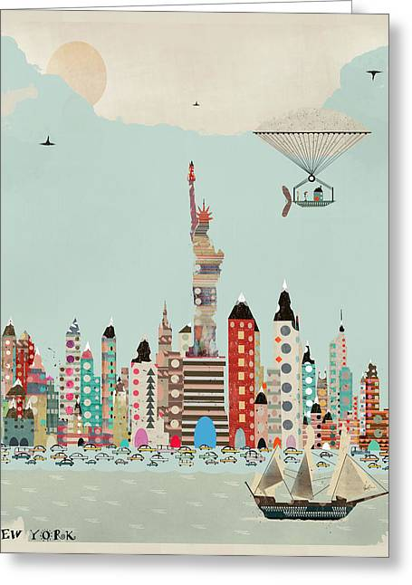 Quirky Greeting Cards - Visit New York Greeting Card by Bri Buckley