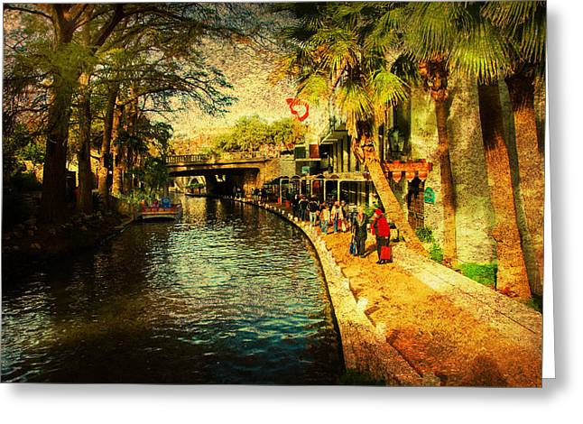 Visiting San Antonio Greeting Card by Iris Greenwell