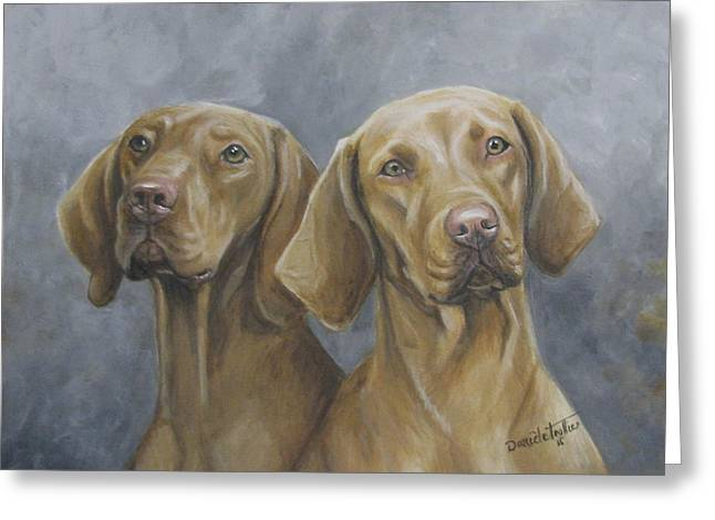 Puppies Paintings Greeting Cards - Viszla Greeting Card by Daniele Trottier