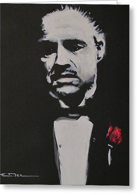 Godfather Greeting Cards - Vito Andolini Corleone Greeting Card by Eric Dee